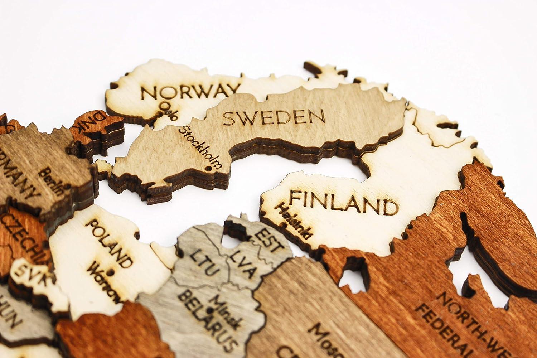 Wanddekoration Weltkarte Aus Holz Mehrschichtig Mehrfarbig Gebeiztes Holz Eingravierte Namen Einzigartiger 3d Effekt Für Wohnzimmer Büro Und Schlafzimmer Küche Haushalt