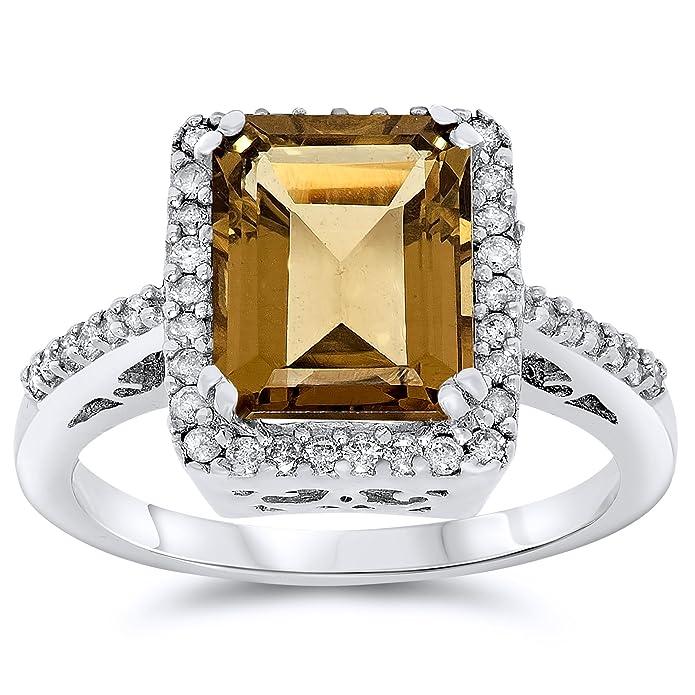Amazon.com: 14 K oro blanco verdadera Smoky Cuarzo y ...