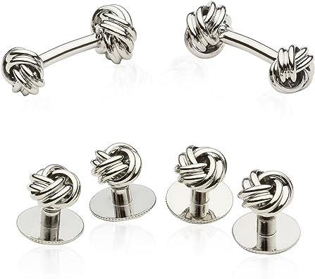 Sterling Silver Knot Cufflinks Shirt Dress Studs Gift Set