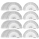 Coopay 24 Pack Plastic Protractors Clear Protractor Student Math Protractor Set 180 Degrees for Angle Measurement, 4 Inches