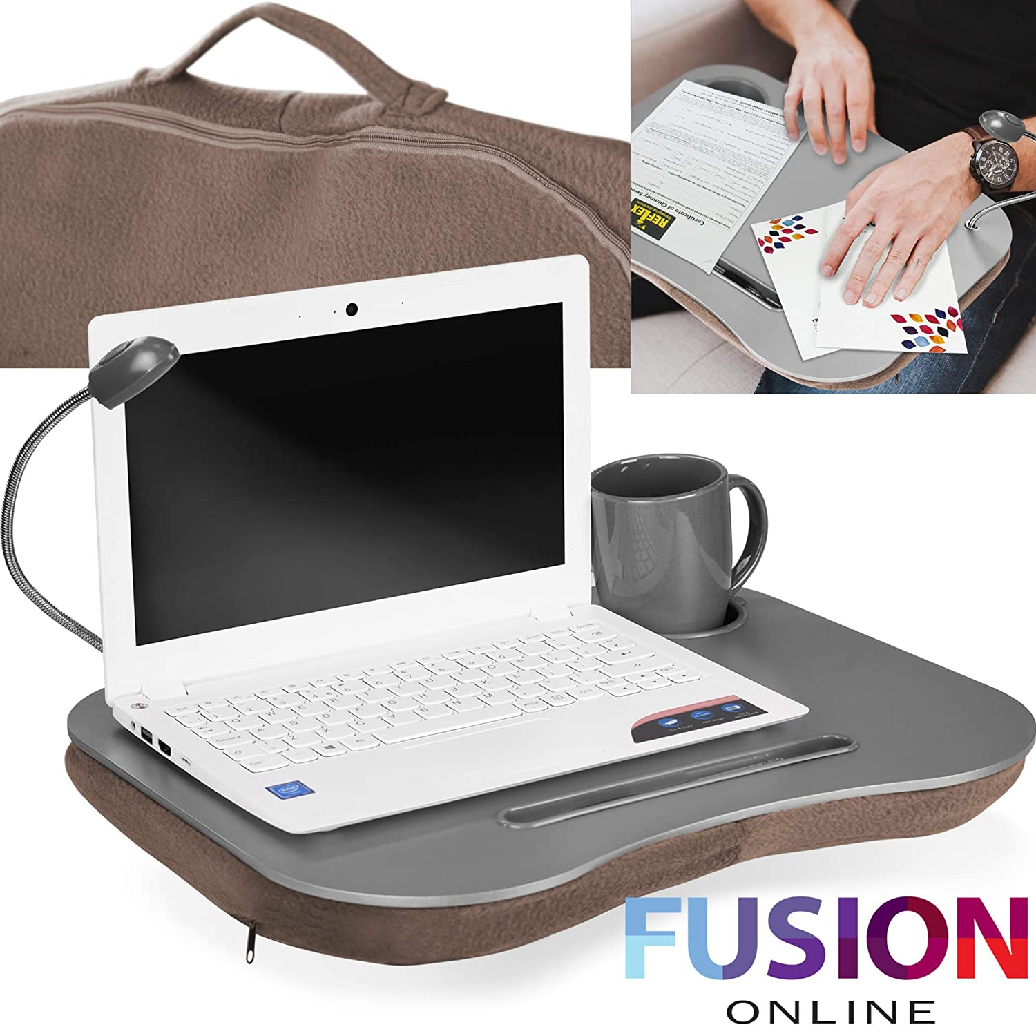 Evelyn Living Laptop Tray With Led Light & Cushion Portable Desk Computer Table Sofa Notebook Breakfast Bed