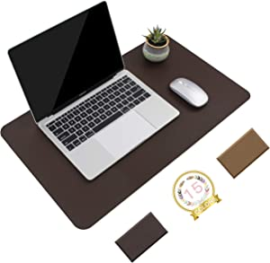 "Non-Slip Desk Pad, Waterproof PVC Leather Desk Table Protector, Ultra Thin Large Mouse Pad, Easy Clean Laptop Desk Writing Mat for Office Work/Home/Decor(Dark Brown, 23.6"" x 13.7"")"