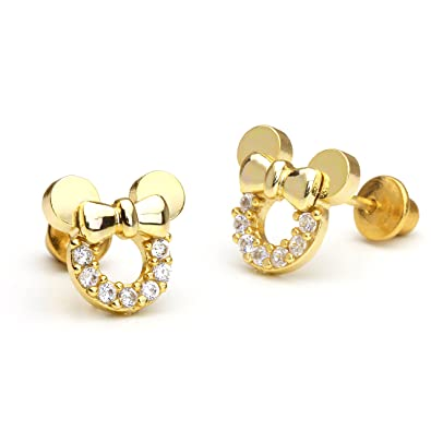 14 ct Gold Plated Brass Mouse Children Screwback Girls Earrings