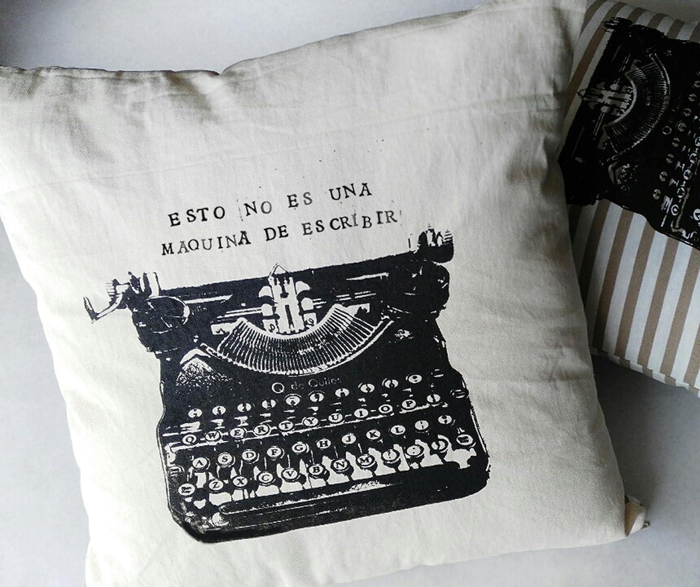 Cojín máquina de escribir, regalo personalizado con mensaje, blanco y negro. Tintas ecológicas.: Amazon.es: Handmade
