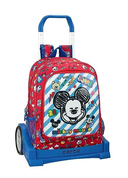 "Mickey Mouse ""Maker"" Oficial Mochila Espalda Ergonómica Con Carro Safta Evolution"