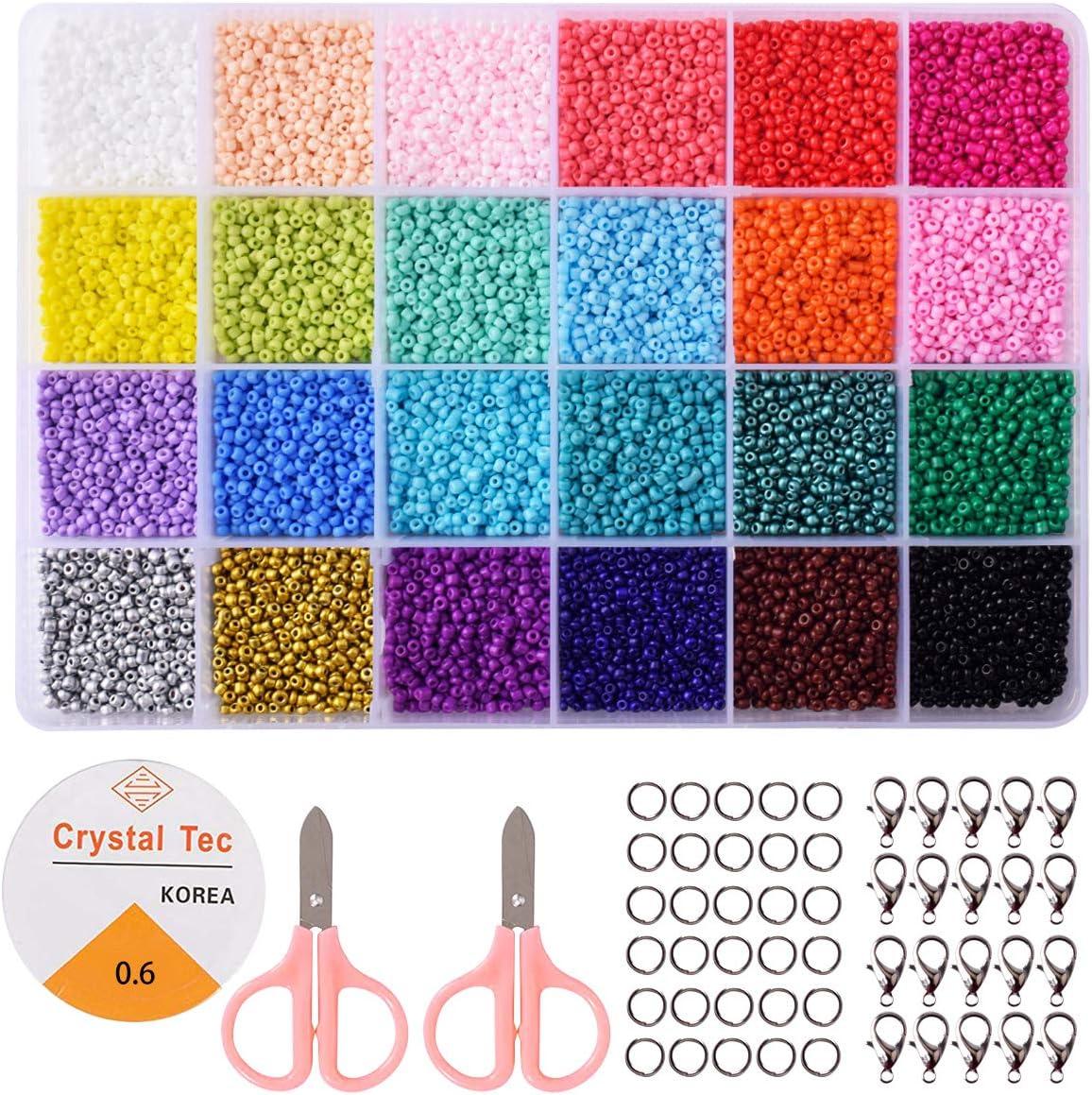 Cuentas de Colores 2 mm Perlas de Vidrio para Hacer Joyas de Pulseras Collares Regalo para Niños 24 Colores Brillantes