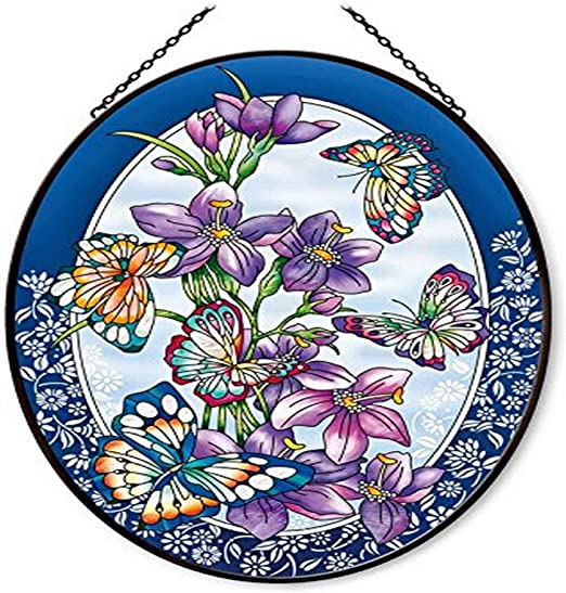 Amia 41457 Blue Pansies 3-1//4 by 4-1//4-Inch Oval Sun Catcher Small