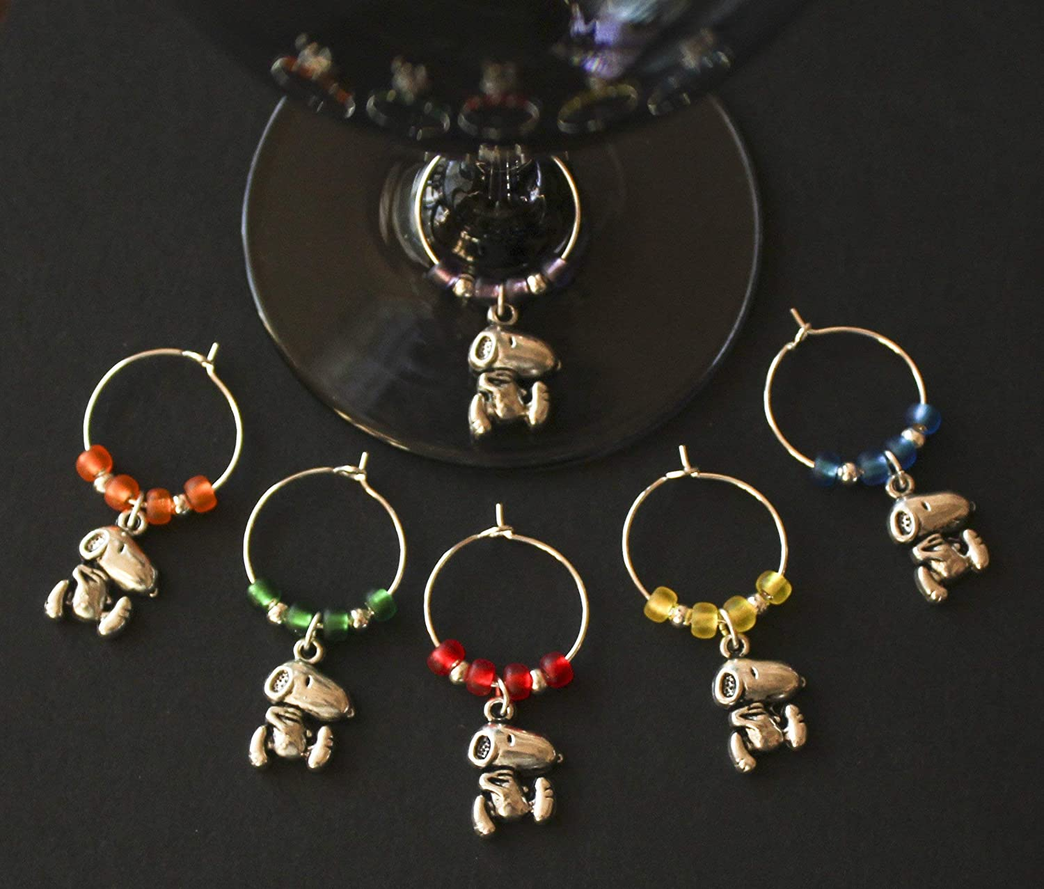 Beagle-Snoop-Dog-Wine Glass Charms-Set of 6