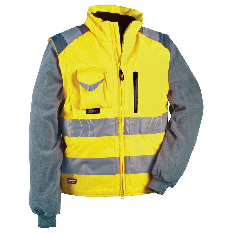 Cofra Signal - Giacca e gilet ad alta visibilità , 2 in 1, colore: giallo fluorescente, 40-00V02300-44 V023-0-00.Z44