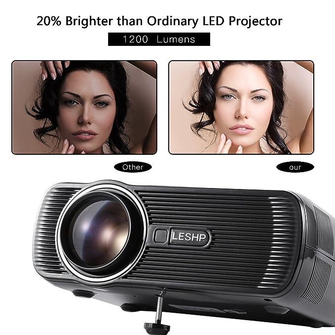 Amazon.com: LESHP A8 proyector portátil de 1500 lúmenes ...