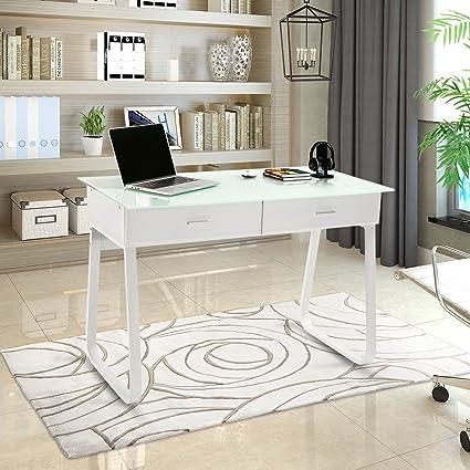Beau ModernLuxe WF037207KAA Computer Desk Home Office Table With Glass Top,  43.3u201dL X 22.8u201d