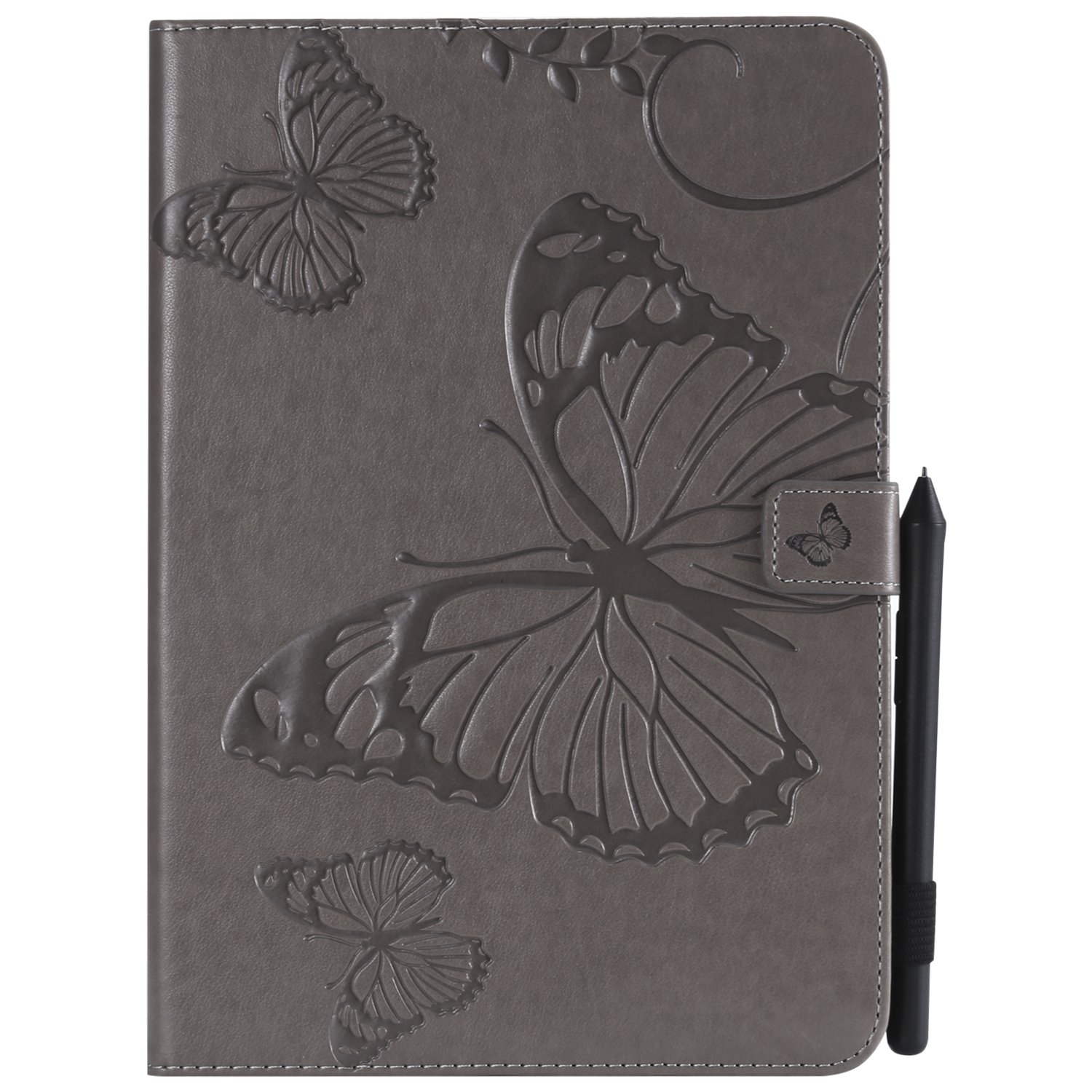 Bear Village Galaxy Tab a 9.7 Inch Case, Butterfly Embossed Anti Scratch Shell with Adjust Stand, Smart Stand PU Leather Case for Samsung Galaxy Tab a 9.7 Inch, Gray