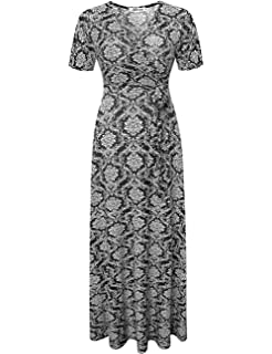 d4ed10f1ed7 Aphratti Women s Bohemian Short Sleeve V Neck Long Beach Faux Wrap Maxi  Summer Dresses