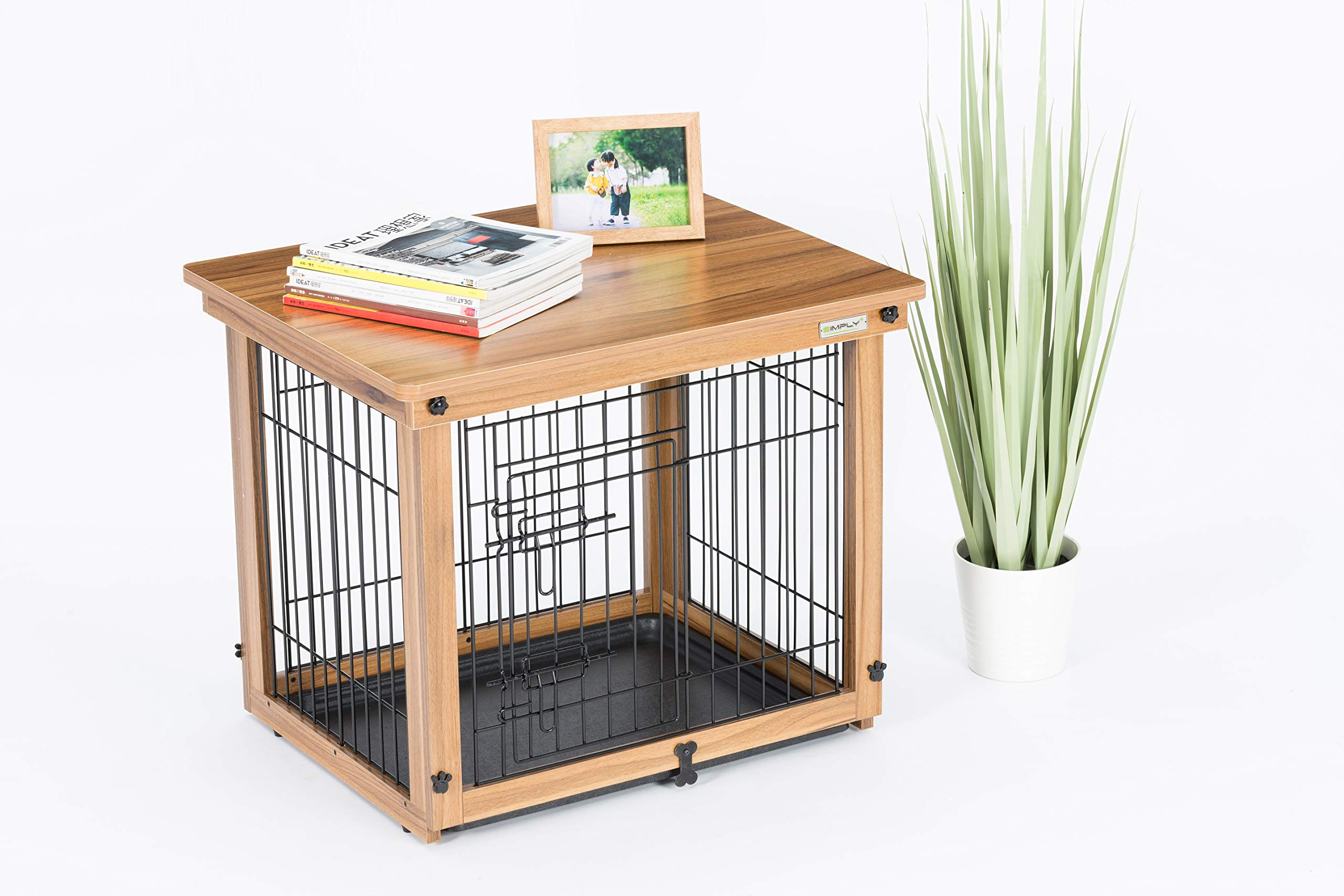 Simply Plus Wood & Wire Dog Crate with Slide Tray and Solid Wood Detachable Top Cover Indoor Pet Crate Side Table by Simply Plus