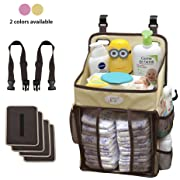 Diaper Stacker and Changing Table Organizer - Hard Plastic Body Prevent from Sagging - Hanging Caddy for Newborns fit Every Crib - Diaper Holder and Nursery Storage for Baby Boys and Girls