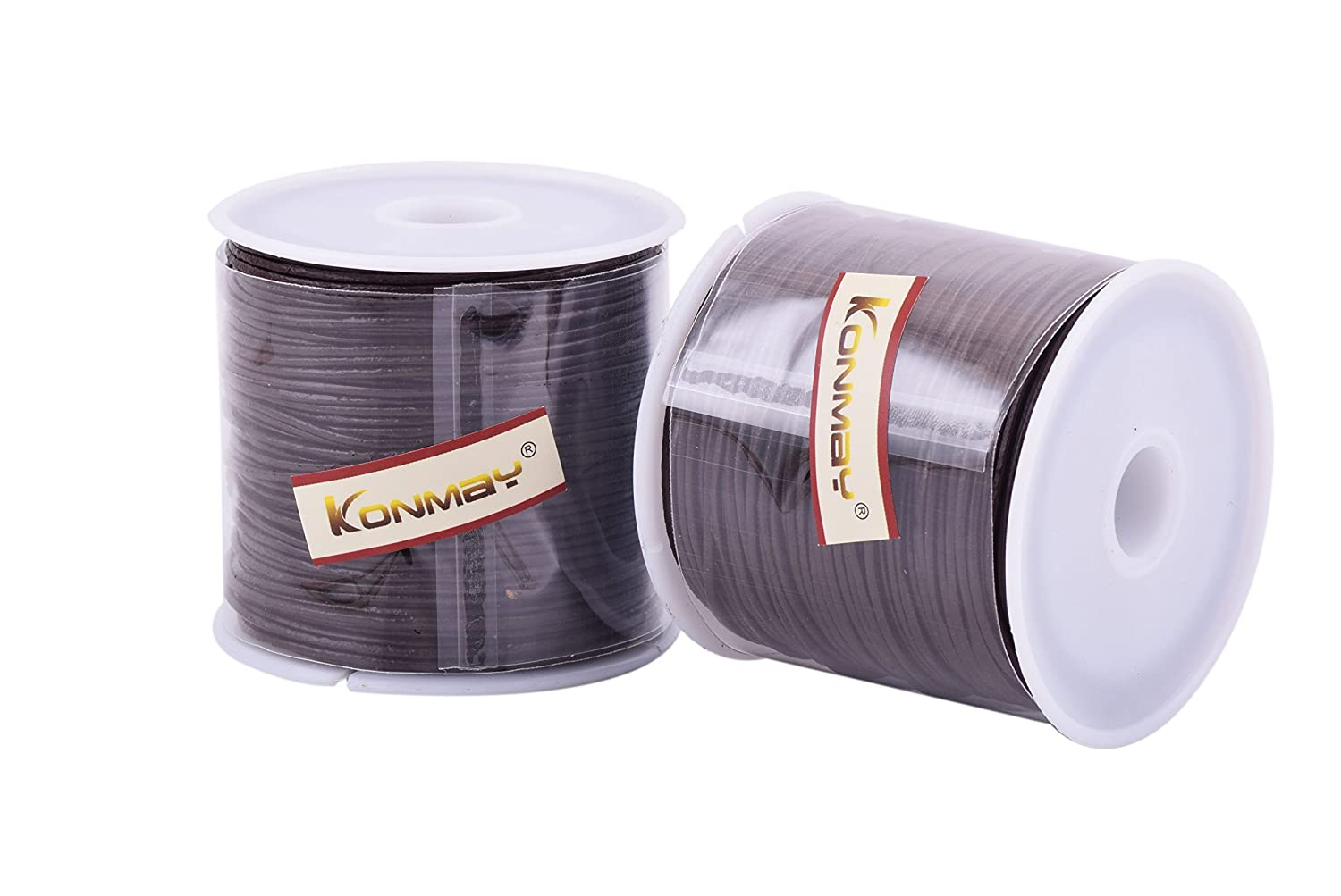 KONMAY 1 Roll 25 Yards 1.0mm Round Genuine//Real Leather Cord Beading String