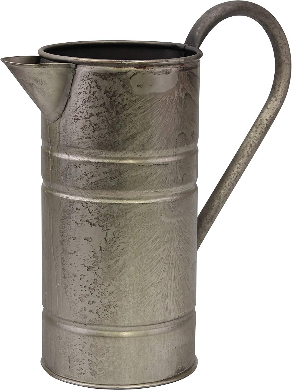 CKK Industrial Stonebriar Decorative Vintage Silver Metal Drinking Pitcher with Handle, Farmhouse Home Decor Accents
