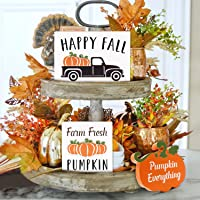 Huray Rayho Pumpkin Tiered Tray Decorations Farmhouse Autumn Decor Rae Dunn Fall 3D Signs Seasonal Farm Fresh Pumpkin Mini Signs Happy Fall Kitchen Wood Block Ornaments Set of 3