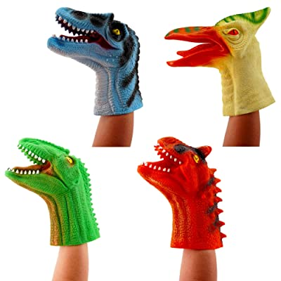 Treasure Co Trio Realistic Dinosaur Hand Puppet (4 Pack, 1 of Each), 11 in x 8 in Soft Touch Dino Hand Puppet Glove: Toys & Games