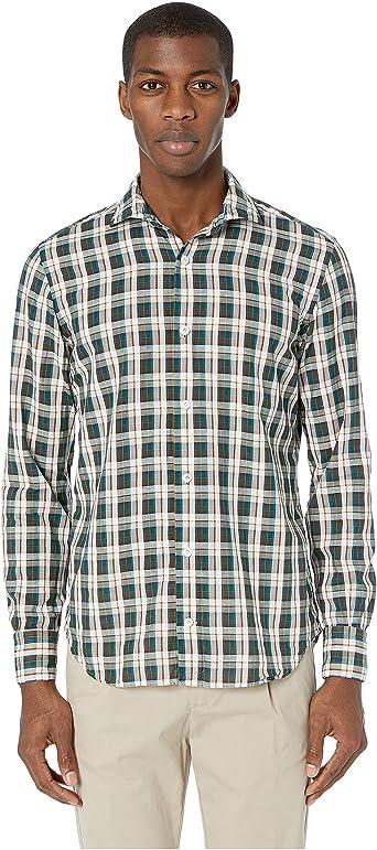 Eleventy Camisa de Cuadros Hombre - Verde - Large: Amazon.es ...