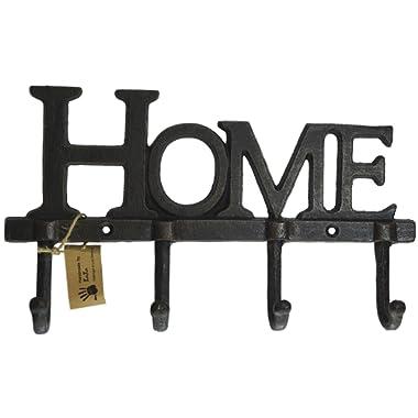 LuLu Decor, Cast Iron Home Shape Key Holder, Coat Hanger