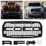 Raptor Style Grill Kit, AAIWA Grille for 2015 2016 2017 F150 Front Grill Replacement with Amber LED Lights, Matt Black