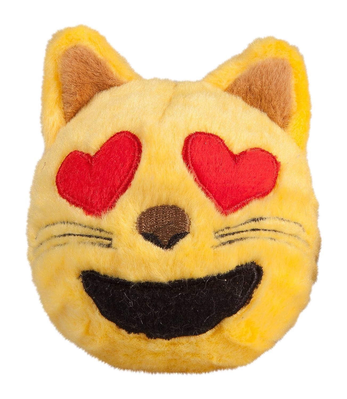 S fabdog Cat Heart Eyes Emoji faball Squeaky Dog Toy (Small)