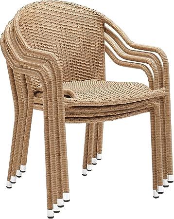 Surprising Crosley Furniture Co7109 Lb Palm Harbor Outdoor Wicker Stackable Chairs Set Of 4 Light Brown Creativecarmelina Interior Chair Design Creativecarmelinacom