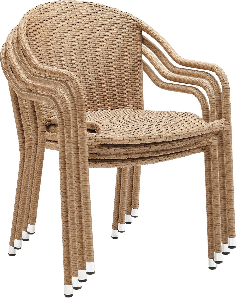 Crosley Furniture Palm Harbor Outdoor Wicker Stackable Chairs - Light Brown (Set of 4) by Crosley Furniture