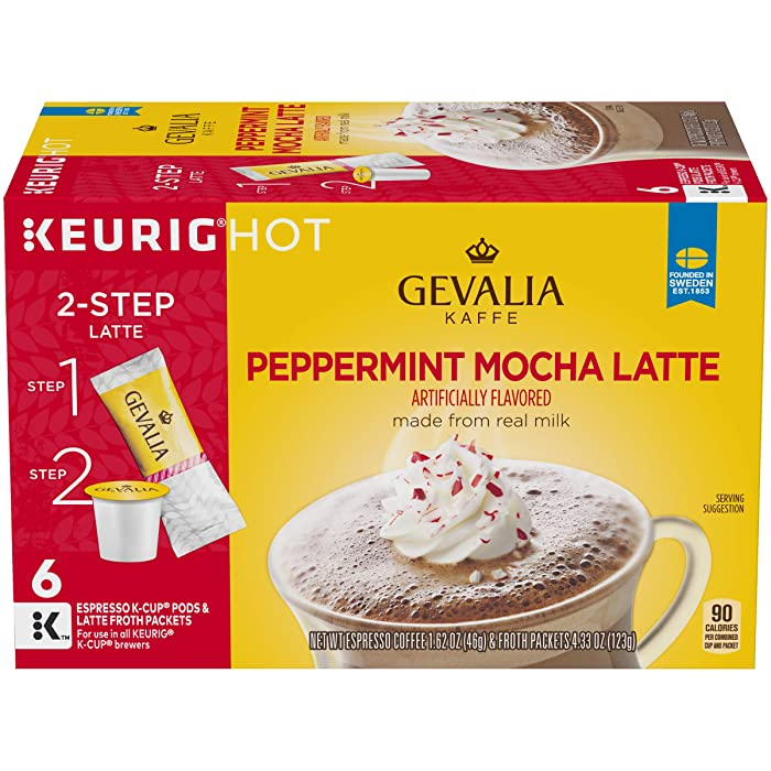 Gevalia Peppermint Mocha Latte Espresso Keurig K-Cup Coffee Pods & Froth Packets (6 Count)