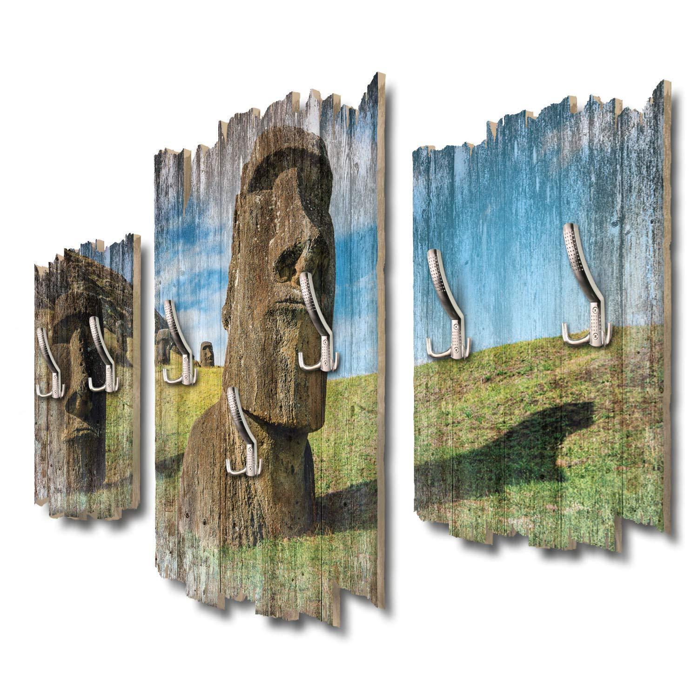 Kreative Feder Moai Osterinseln Designer Wandgarderobe Flurgarderobe Wandpaneele 95 x 60 cm aus MDF DTGH078