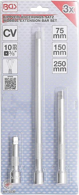 "- 75 // 150 // 250 mm 3-tlg. Kippverlängerungs-Satz 3//8/"" 10 mm"