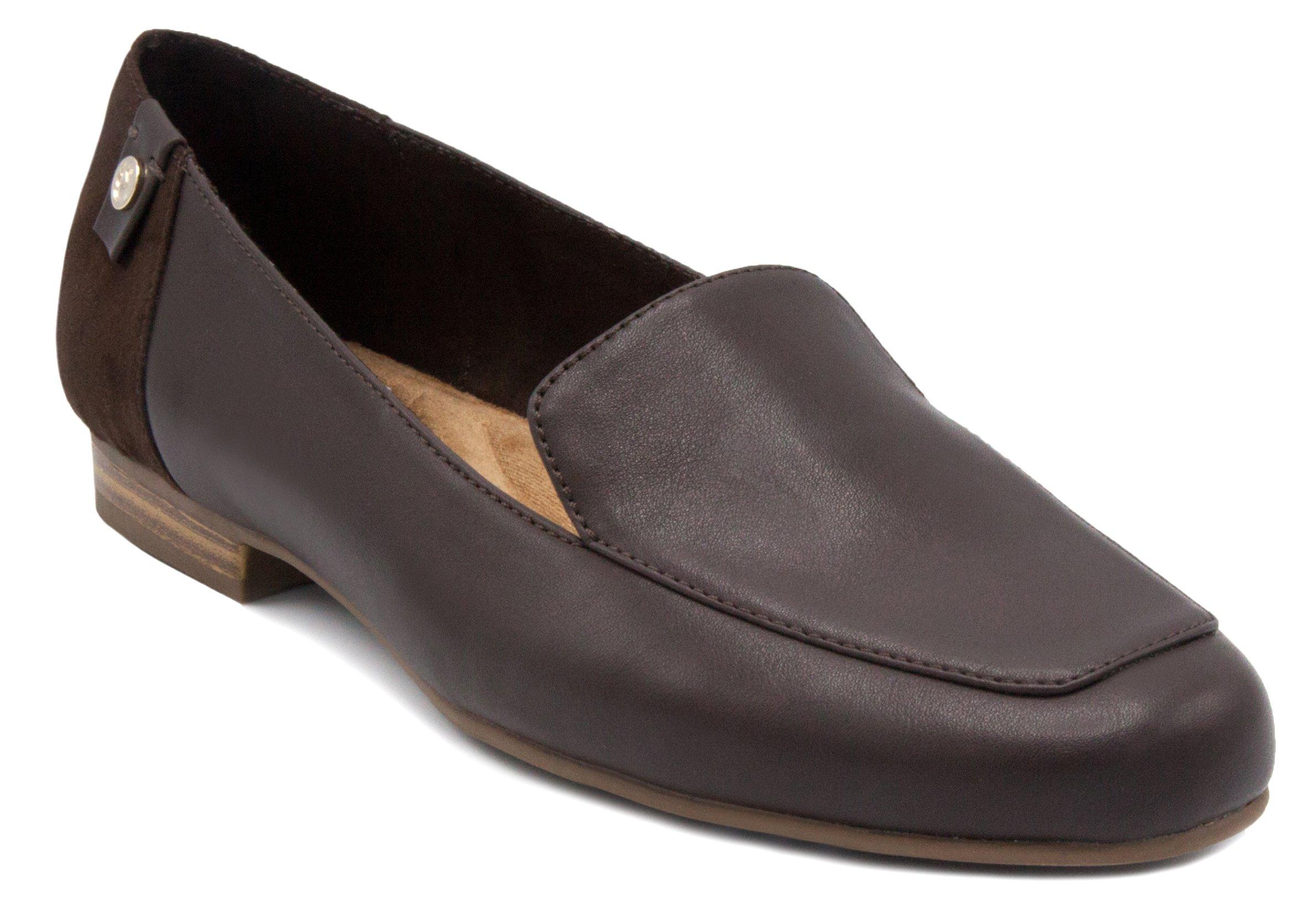 Gloria Vanderbilt Women's Marjorie Classic Slip On Slide Loafer Fashion Shoe Espresso Combo Tumbled 7.5