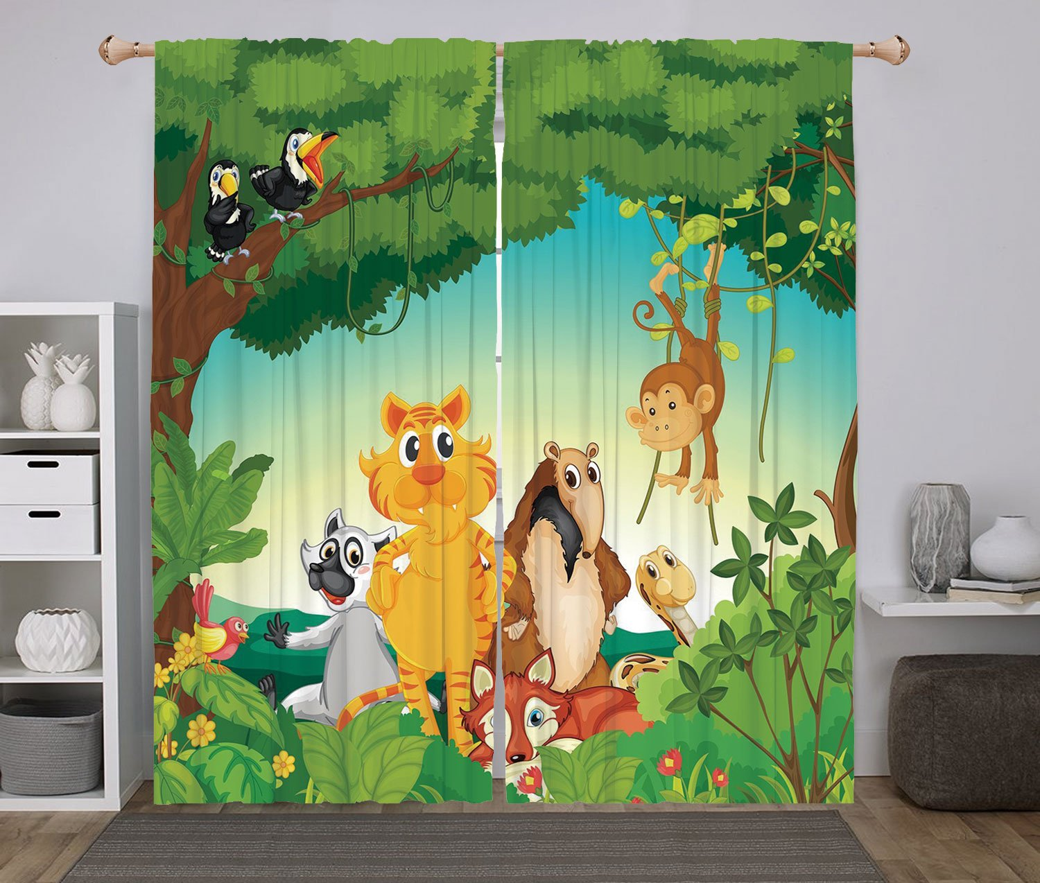 2 Panel Set Window Drapes Kitchen Curtains,Zoo Forest Scene with Different Animals Habitat Jungle Tropical Environment Kids Cartoon Decorative Multicolor,for Bedroom Living Room Dorm Kitchen Cafe