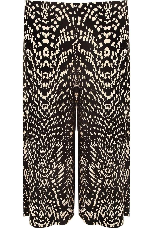 DIGITAL SPOT Ladies Plain Printed Stretch Wide Leg Trousers Shorts Womens Elasticated Waist 3/4 Length Culottas