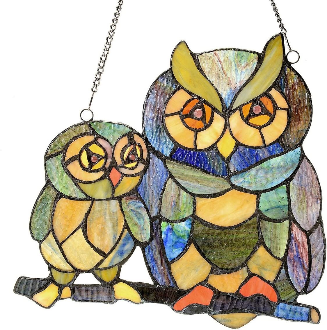 River of Goods Owls 10.75 Inch High Stained Glass Suncatcher Window Panel, Ivory, Purple, Orange