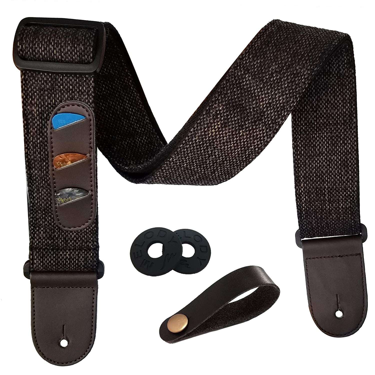 Guitar Strap Vintage Woven Style Adjustable Acoustic Electric Guitar Bass Strap with Leather Ends, Picks, Strap Bundle, Button (Brown) Enbite