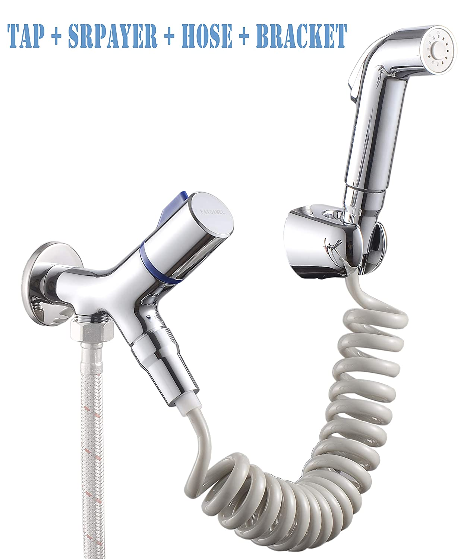 Bathroom Bidet Set: Includes 3-Way Bidet Tap Shut Off Valve, Telephone Tube Shower Hose, Hand Sprayer, and Wall Mount Bracket TOGOTEC