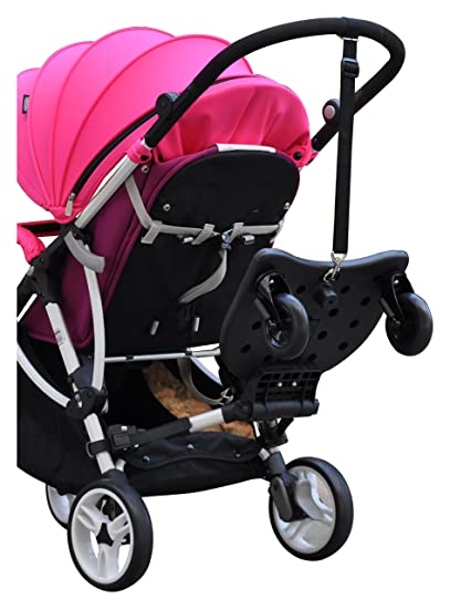 Englacha 2-in-1 Cozy X Rider, Black - Child Rider Stroller Attachment with Saddle Seat and Standing Platform - Universal Fit for Most Prams - Quick ...