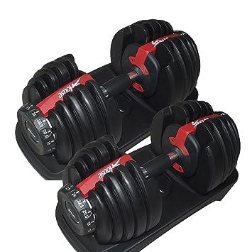 Fitness House Adultos Ajustable Pesas 2.5 - 24 kg en Juego con Soporte (una Pieza) - Sistema de Mancuernas, Black, One Size: Amazon.es: Deportes y aire ...