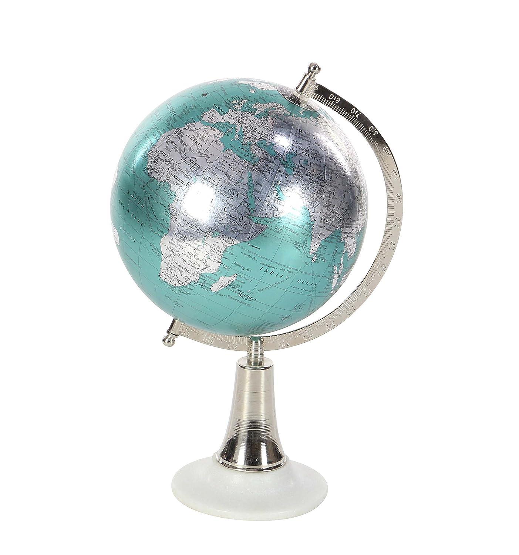 "Deco 79 94511 Cyan Marble and Plastic Decorative Globe, 15"" x 8"", Silver White"