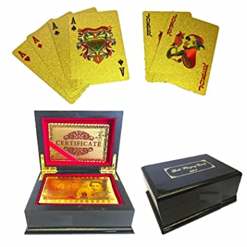 24K GOLD PLATED PLAYING CARDS FULL POKER DECK 99.9/% PURE PERFECT XMAS GIFT