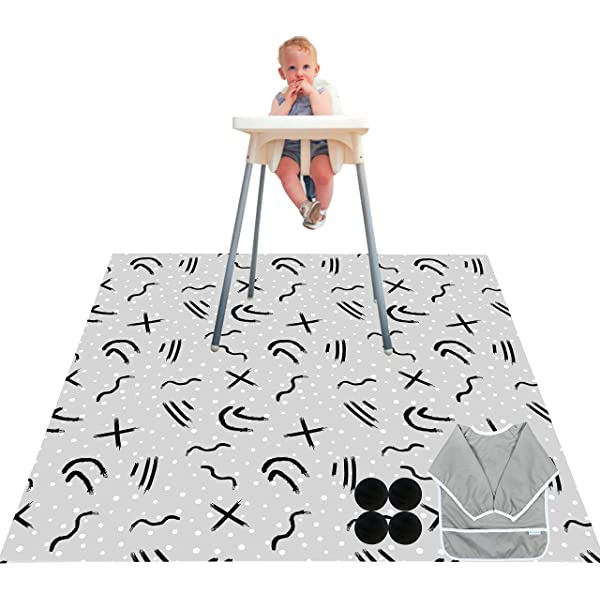53 X 53 Paw Legend Washable Highchair Splat Floor Mat Anti-Slip Silicone Spot Splash Mess Mat -Food Catcher Art Craft Leak Proof Mat,Diamond