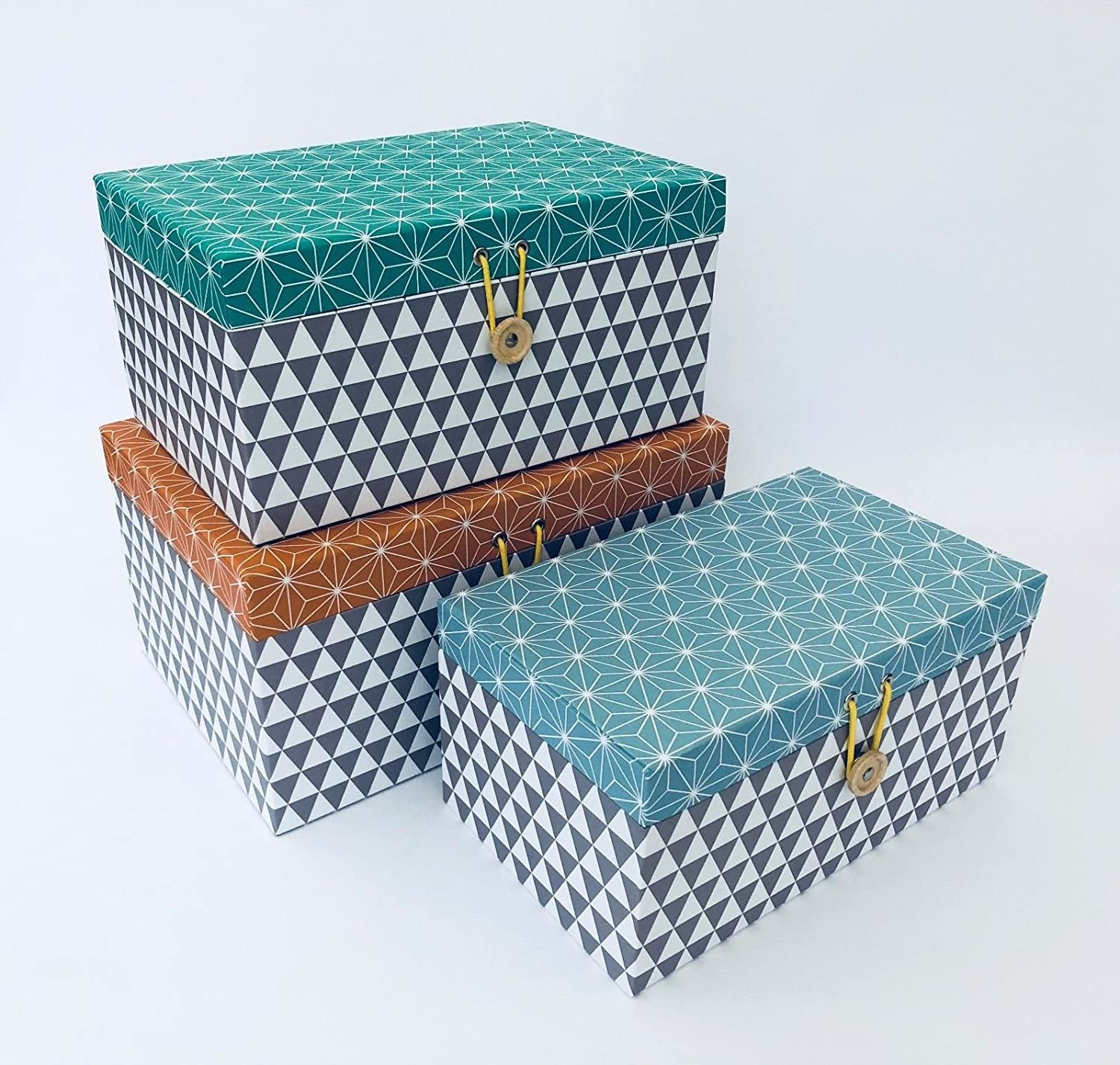 Homes on Trend Pack Of 7 Rectangular Storage Boxes With Lids Retro  Decorative Geometric Design Cardboard Home Office Bedroom Wardrobe  Organiser Box