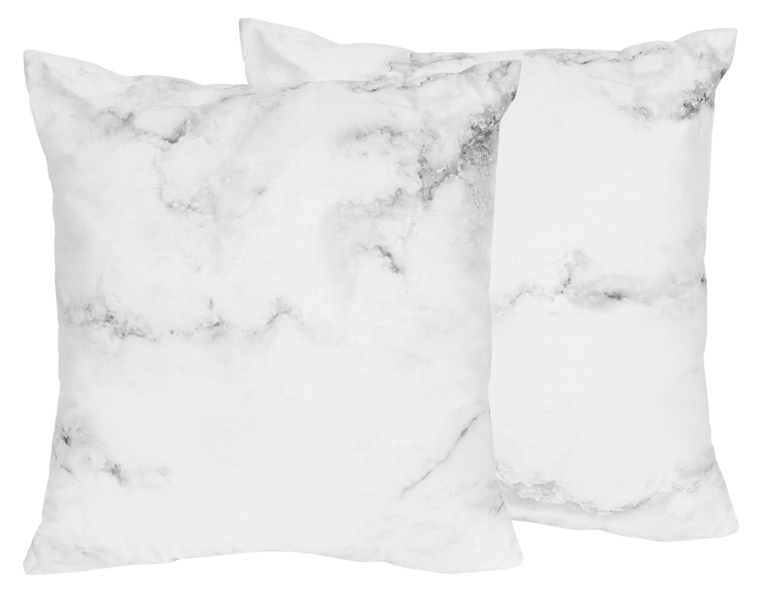 Sweet Jojo Designs 2-Piece Modern Grey, Black and White Marble Print Decorative Accent Throw Pillows