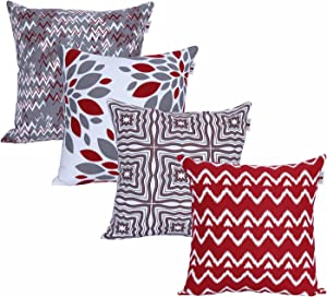 ANA Home Décor Square Printed Cotton Cushion Cover,Throw Pillow Case, Slipover Pillowslip for Home Sofa Couch Chair Back Seat,4pc Pack 18x18 in Red/Grey Color