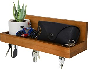 """Magnetic Key Shelf with Ledge, Key Holder, Entryway Mail Wall Organizer, 12 in L x 4"""" W, Natural"""