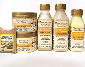 Creme of Nature Pure Honey kit: Shampoo, Conditioner, Detangler, Hair Mask & Twisting Cream with Shea Butter.