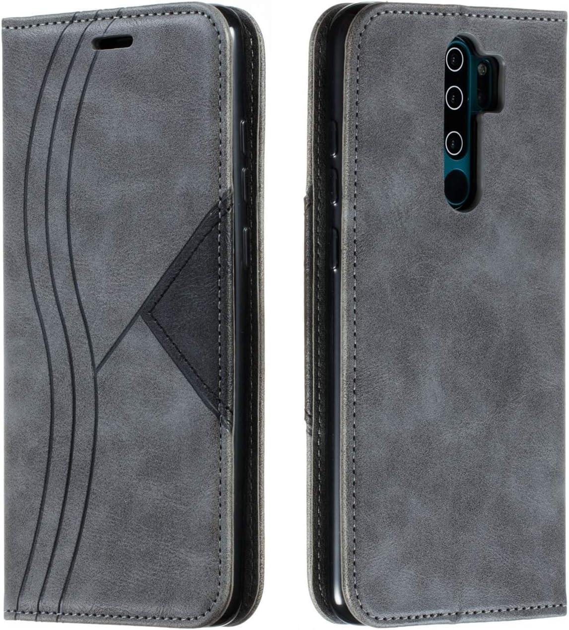 HUDDU H/ülle Kompatibel mit Xiaomi Redmi Note 8 Pro Handyh/ülle Leder Flip Premium PU Schutzh/ülle Kartenfach Flip Tasche Soft St/änder Brieftasche Lederh/ülle Klapph/ülle Bumper Cover Sto/ßfest Grau