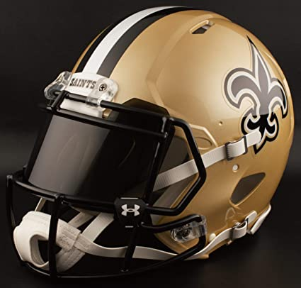 Image Unavailable. Image not available for. Color  Riddell Custom New  Orleans Saints Full Size NFL Speed Football Helmet beca733d1